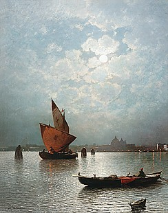 Sophus Jacobsen - Venice at night