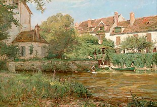 Karl Cartier - Scene in the suburb with woman doing the laundry at a river