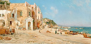Bernardo Hay - Scene at the beach of Capri
