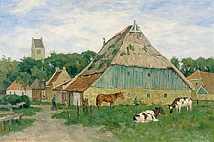 Paul Müller-Kaempff - North german farm with cows and horse