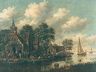 Thomas Heeremans - Busy village at waterside of a canal with boats
