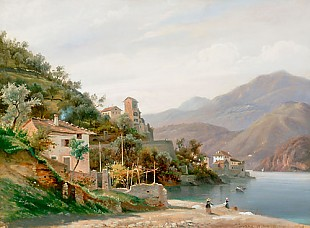 deutsch. Landschaftsmaler - Varenna at Comer Lake