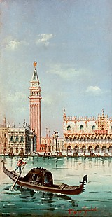 Carlo (Marco) Grubas - Venice-Gondolas in front of the Palazzo Cucale and Campanile