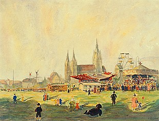Hans Christiansen - Oktoberfest at Theresienmeadow in Munich with St. Pauls church
