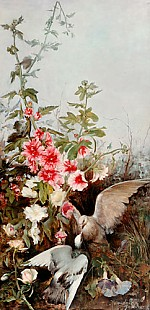 Augusto Raminecz Conzalves - Couple of doves under a bloomy bush