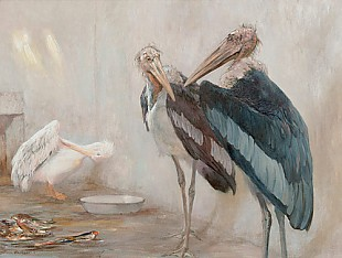 Carl Kappstein - Couple of marabous with a pelican