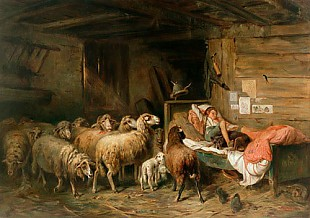 Otto Gebler - Flock of sheep and sleeping shepherd in a stable