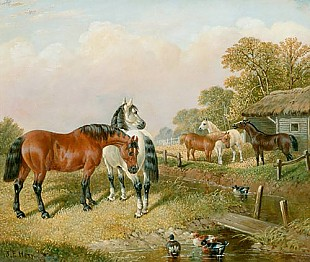 John Frederick Herring D. J. - Horses and ducks