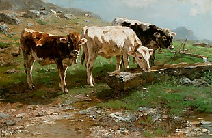 Anton Braith - Young cattle at the drinking trough