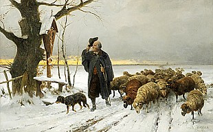 Ernst Meissner - shepherd with his herd on way home