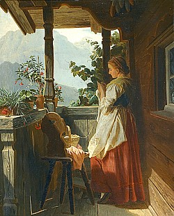 Ludwig Vollmar - Knitting girl