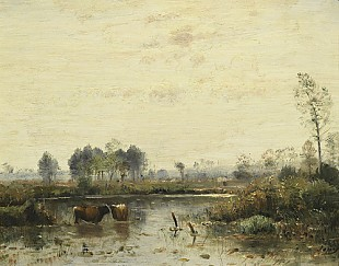 Louis-Aime Japy - Meadows with cows in the water