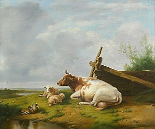 Monogrammist AVF Belgischer Maler - cow,sheeps and ducks