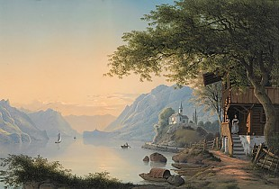 Johann Ludwig Bleuler - Evening mood at a Swiss lake
