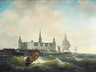 C. Dettloff - Rowboat and sailing ships in front of the castle Kronborg