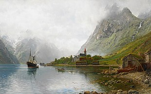 Anders Monsen Askevold - Landscape with fjords and steamboats in summer