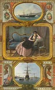 Deutscher Maler - Painting as a decoration with ships and a young lady reading