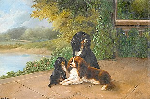 August Knip - Three spaniels