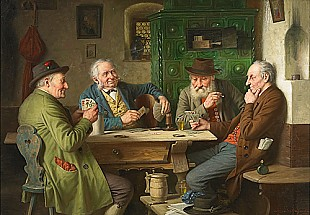 Josef Wagner-Höhenberg - Bavarian tavern scene with card players