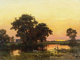 Albert Bierstadt - River landscape and herons in the afterglow