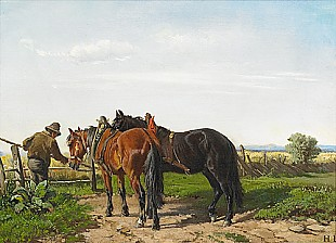 Ludwig Hartmann - Farmer with two horses at a field