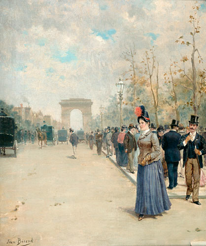 Jean Beraud - Parisian streets scene at the Arc de Triomphe