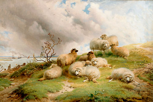 Thomas Sidney Cooper - Resting flock of sheep