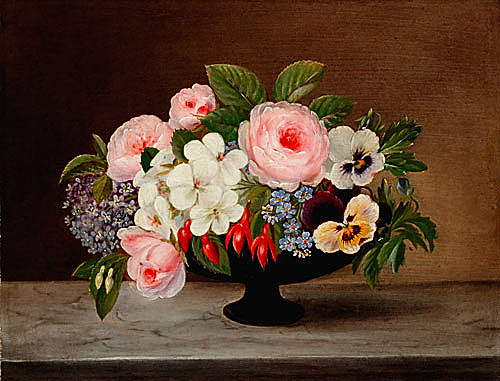 Still life of flowers in a blue-violett cup vase