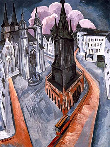 Ernst Ludwig Kirchner - The red tower in Halle