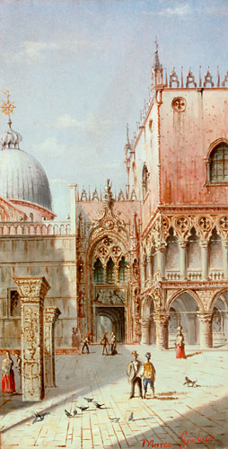 Carlo (Marco) Grubas - Venice - The Palazzo Ducale with San Marco