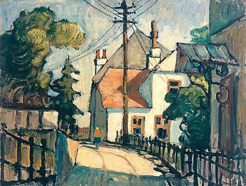 Deutscher Expressionist - village street in sunlight