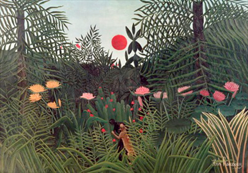 Henri Rousseau - African Attacked by a Jaguar