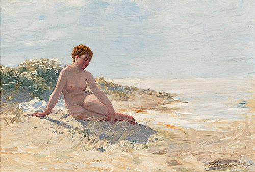 Franz Korwan - Bather at the beach of Sylt