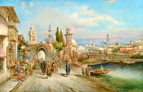 August von Siegen - Busy street in an oriental seaport