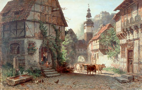 Hermann Schnee - Cattle drive in Stolberg in the Harz