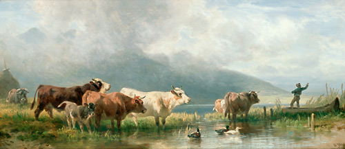 Friedrich Voltz - Cows and ducks at the bank of a lake in the mountains