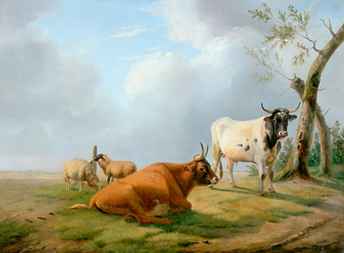 Eugène Joseph Verboeckhoven - Cows and sheep in summery landscape