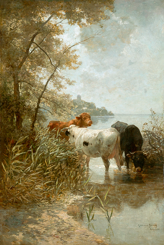 Hermann Baisch - Cows at the bank of lake Constance near Meersburg