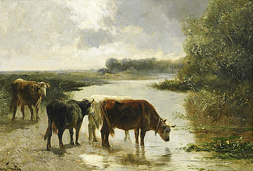 Henry Schouten - Cows at watering place