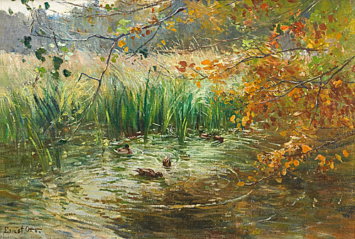Ernst Otto - Ducks in an autumn lake