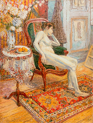 Eugen Delestre - Female Nude in the salon
