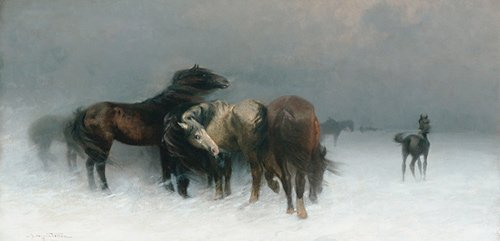 Adolf van den Velden - Horses in an upcoming snow storm