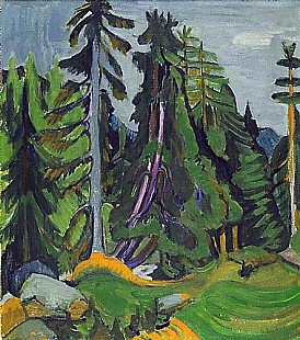 Ernst Ludwig Kirchner - Trees of a mountain forest