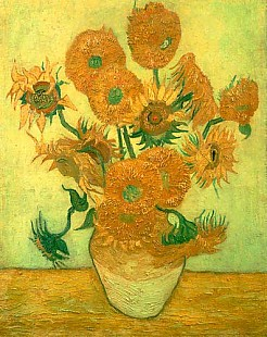 Vincent van Gogh - 14 Sunflowers in a vase in front of a green background