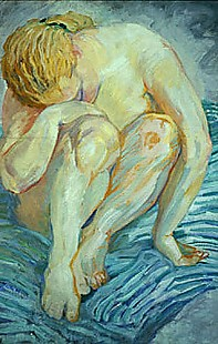 Franz Marc - Nude study (cowering)