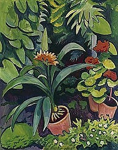 August Macke - Flowers in the garden