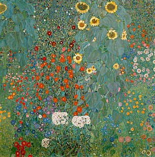 Gustav Klimt - Cottage garden and sunflowers