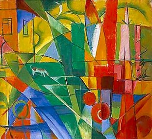 Franz Marc - Landscape with house, dog and cow