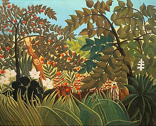 Henri Rousseau - Exotic landscape with playing monkeys
