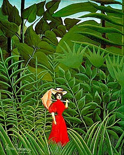 Henri Rousseau - Woman in Red in the Forest